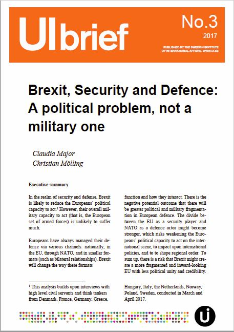 Brexit, Security and Defence: A political problem, not a military one