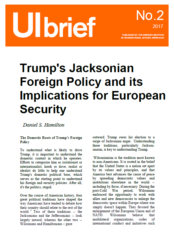 Trump's Jacksonian Foreign Policy and its Implications for European Security