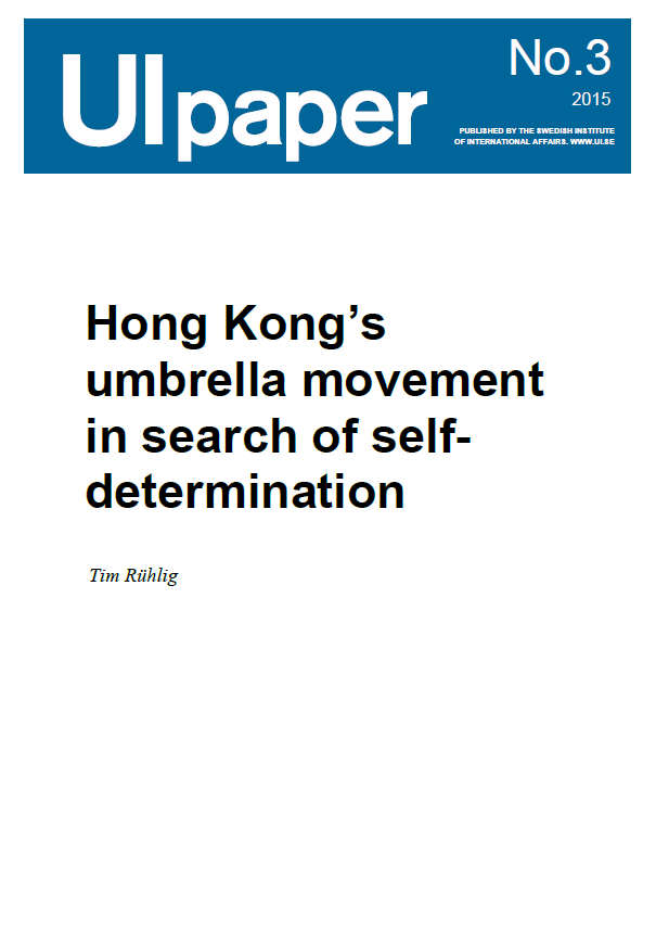 Hong Kong's umbrella movement in search of self-determination
