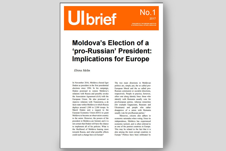 UI Brief: Moldova's Election of a 'pro-Russian' President: Implications for Europe