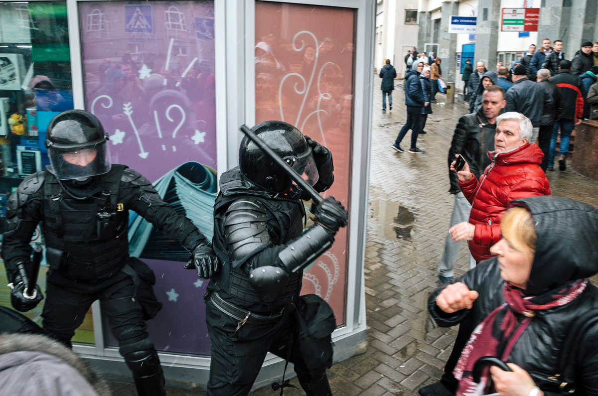 Police unit with shields against ordinary citizens and protesters in Minsk, March 2017. Photo: Shutterstock