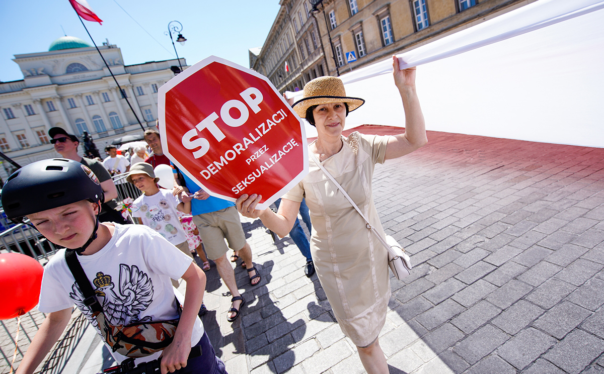 """Stop demoralization through sexualization"". The March for Life and Family in Warsaw, June 8, 2019. Photo: Jaap Arriens/Shutterstock"